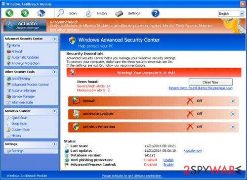Windows AntiBreach Module snapshot