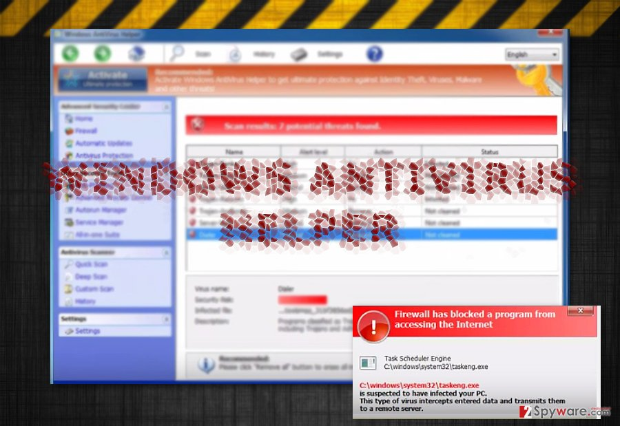The image displaying Windows Antivirus Helper official website