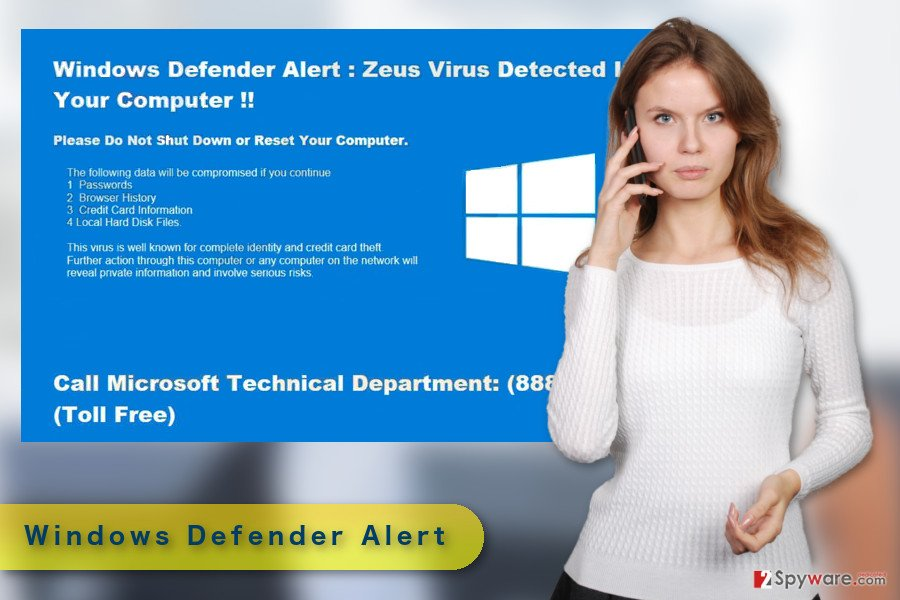 "The illustration of ""Windows Defender Alert"" Support scam virus"