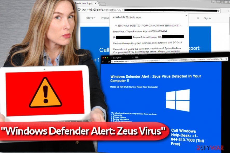 "Examples of ""Windows Defender Alert: Zeus Virus"" alerts"