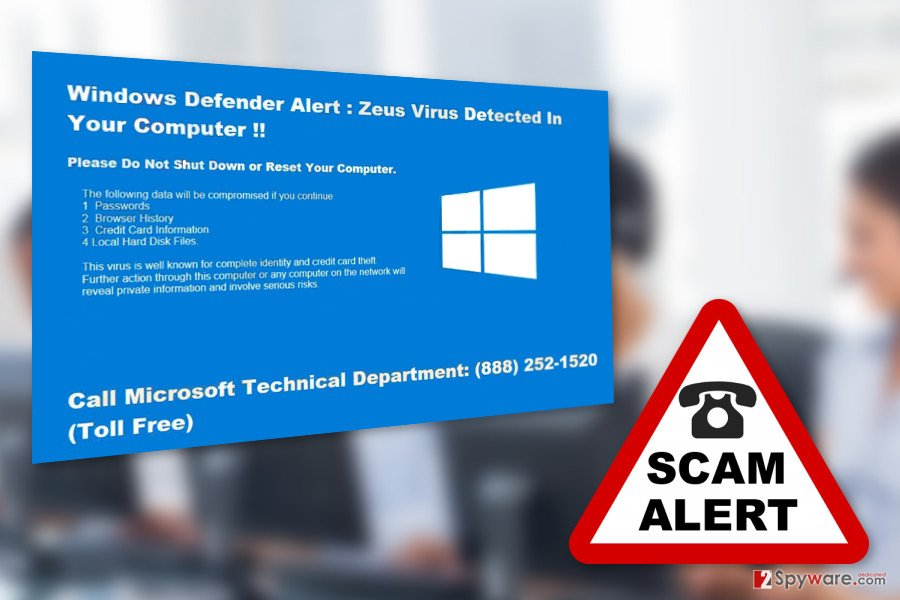 "The image of ""Windows Defender Alert"" Support scam virus"