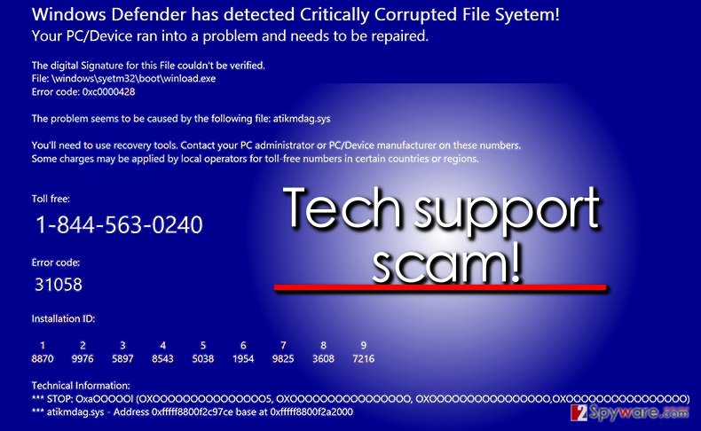Windows Defender scam