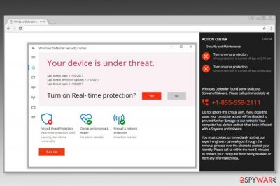 "Screenshot of ""Windows Defender Security Center"" scam"