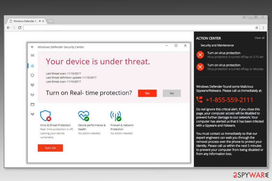 "Screenshot of ""Windows Defender Security Center"" scam"