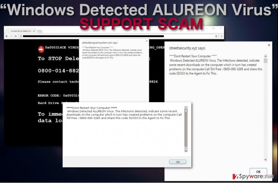 "Image of ""Windows Detected ALUREON Virus"" support scam"