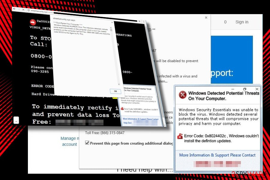"Showing ""Windows Detected Potential Threats On Your Computer"" scam"