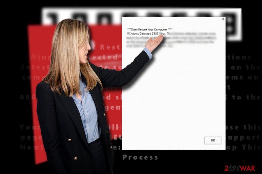 """The screenshot of """"Windows Detected ZEUS virus"""""""