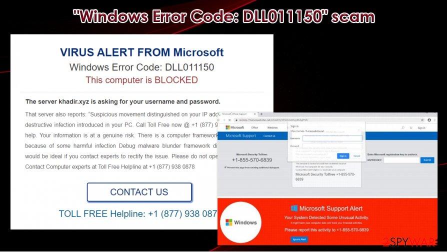 """""""Windows Error Code: DLL011150"""" scam alert"""