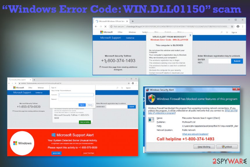 """Windows Error Code: WIN.DLL01150"" scam"