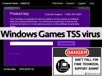 Windows Games TSS malware locks the computer screen and urges to call a fake tech support number