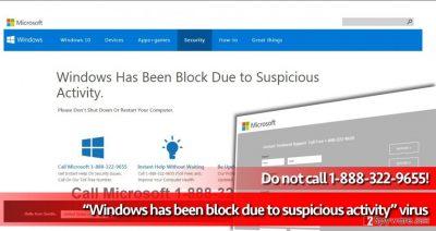Windows has been block due to suspicious activity scam
