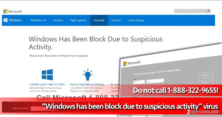Screenshot of Windows has been block due to suspicious activity malicious pop-up