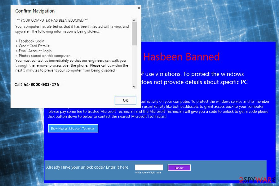 "Image of ""Windows Has Been Shutdown"" scam"