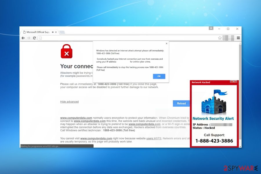 "Screenshot of ""Windows has detected an Internet attack""scam"