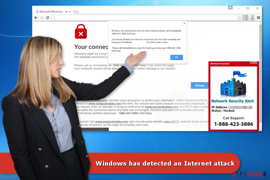 "The image of ""Windows has detected an Internet attack"" Tech support scam"