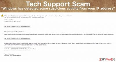 """""""Windows has detected some suspicious activity from your IP address"""" virus scam"""