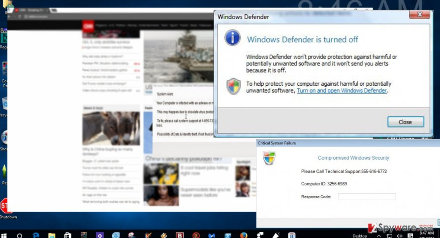Windows Management pop-ups