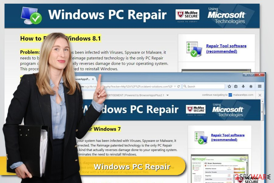 The picture of Windows PC Repair virus