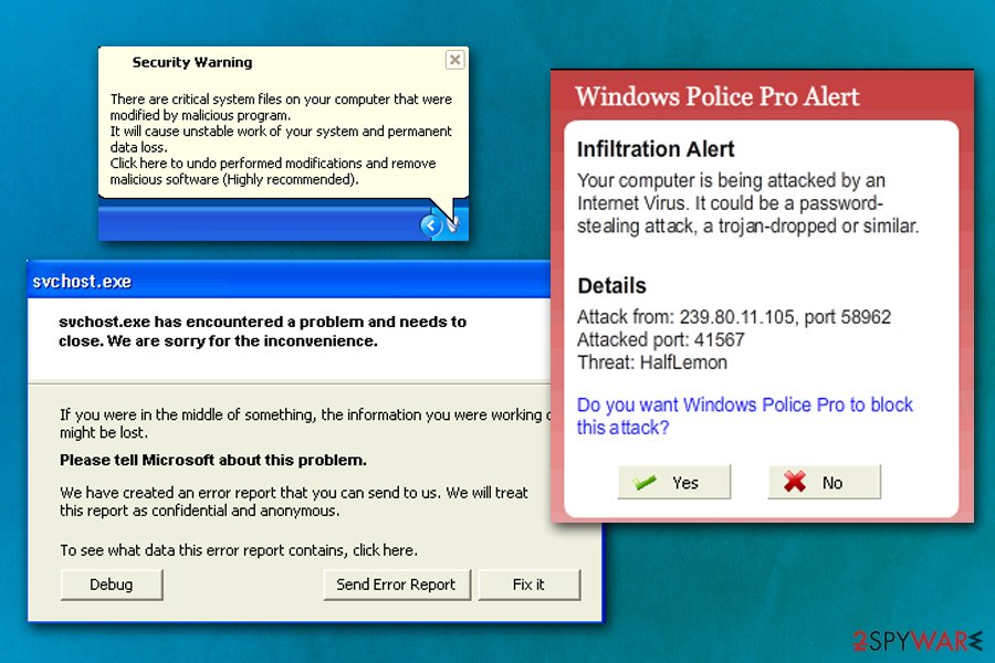 Windows Police Pro fake alerts