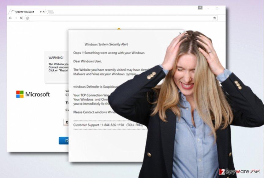 """Windows System Security Alert"" Tech Support scam virus"