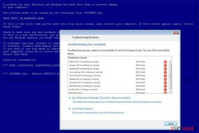 "Image ""Windows Troubleshooting"" scam"