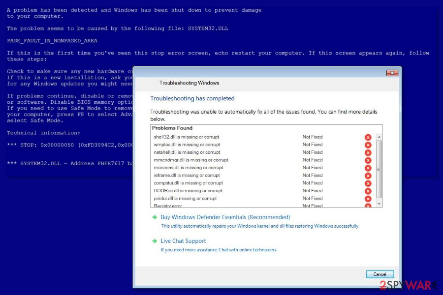 "Image ""Windows Troubleshooting"" scam"
