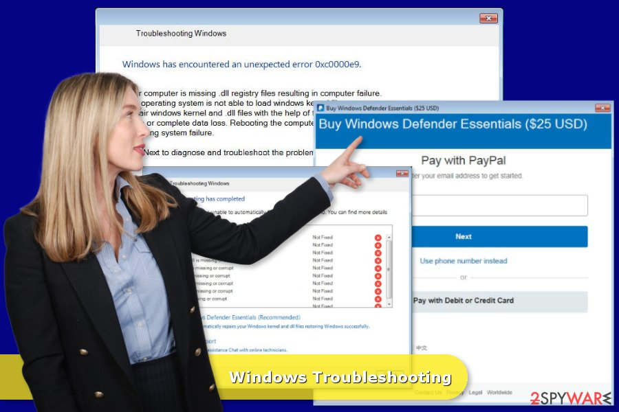 """Example of """"Windows Troubleshooting"""" tech support scam"""