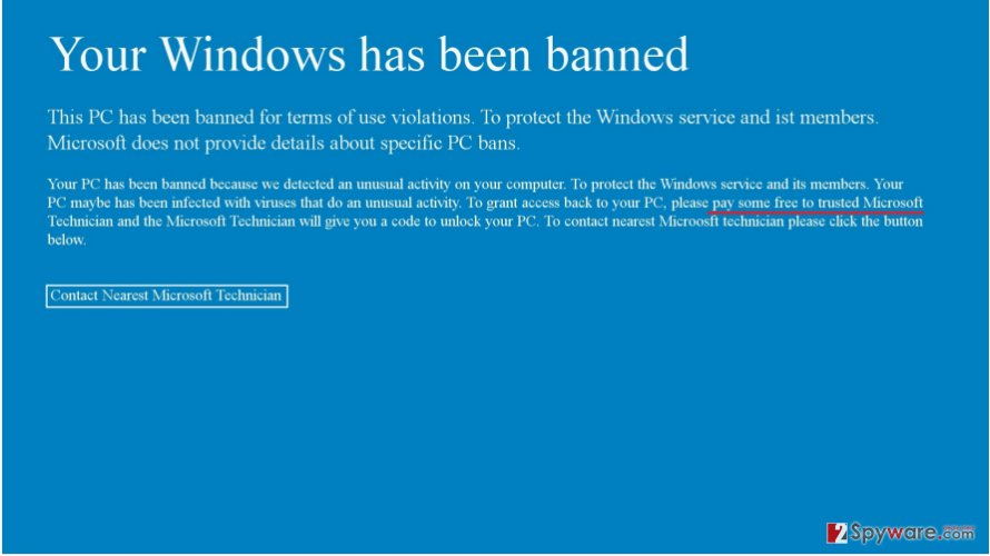 Your Windows Has Been Banned virus example
