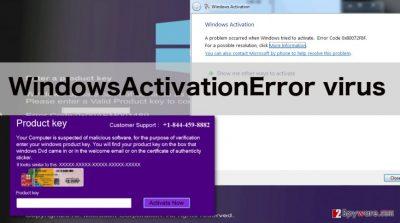 An image of WindowsActivationError virus notifications