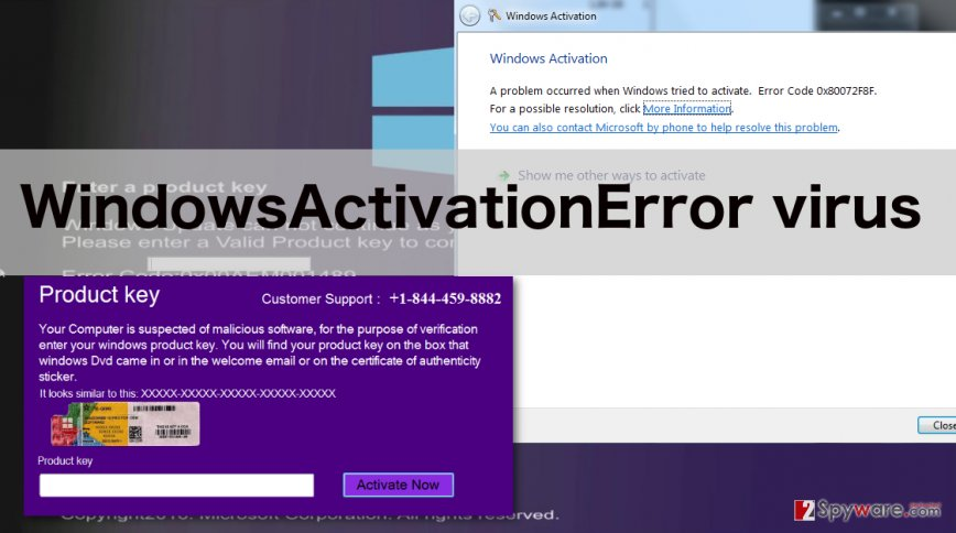 An image of WindowsActivationError virus notifications