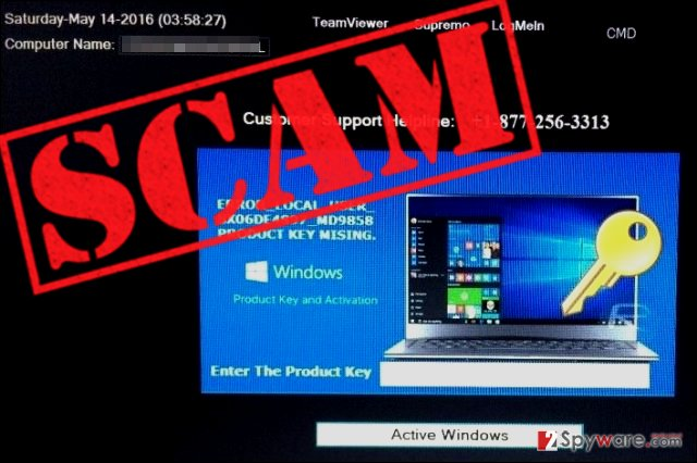 Fake WindowsActivationUpdate screen