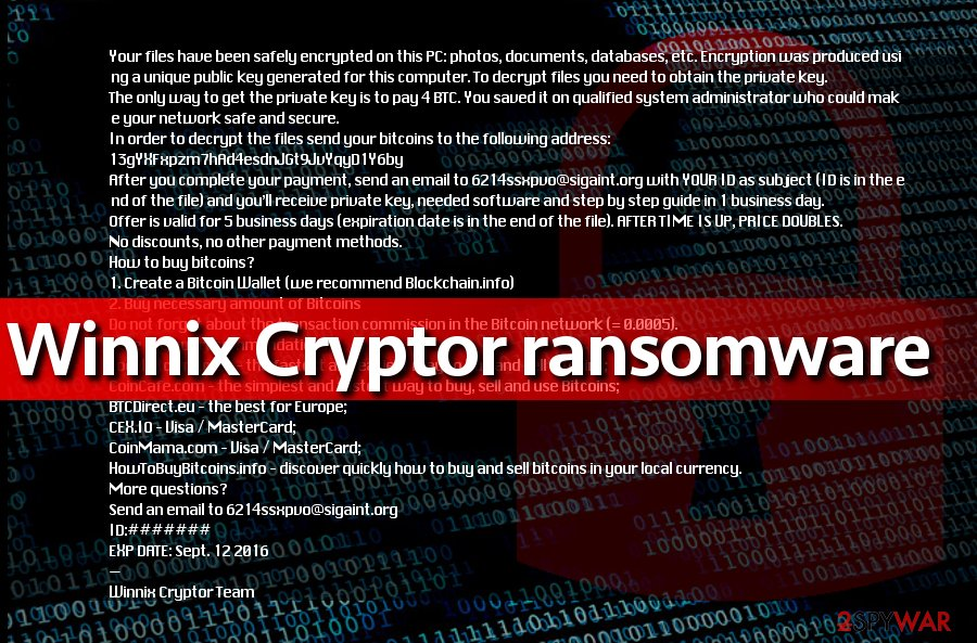 Screenshot of Winnix Cryptor ransom note
