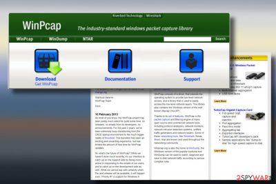 A picture of WinPcap adware