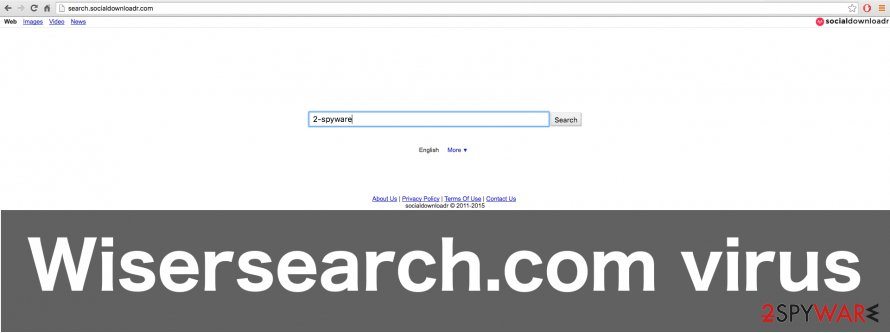 The screenshot of the Wisersearch.com virus website