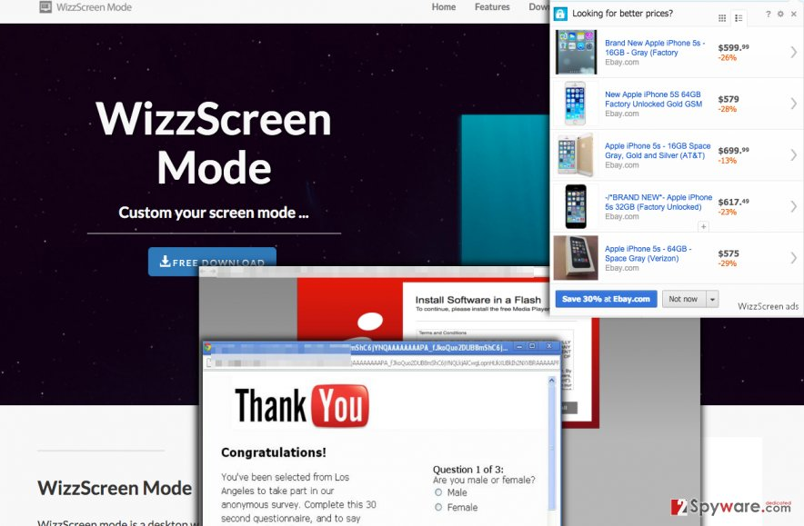 WizzScreen adware serves fake ads