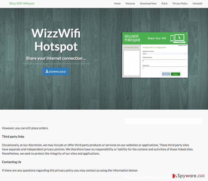 The example of Wizz Wifi Hotspot ads