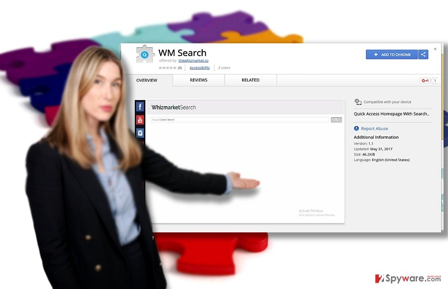 The demonstration of WhizMarket Search search tool and WM Search browser plug-in