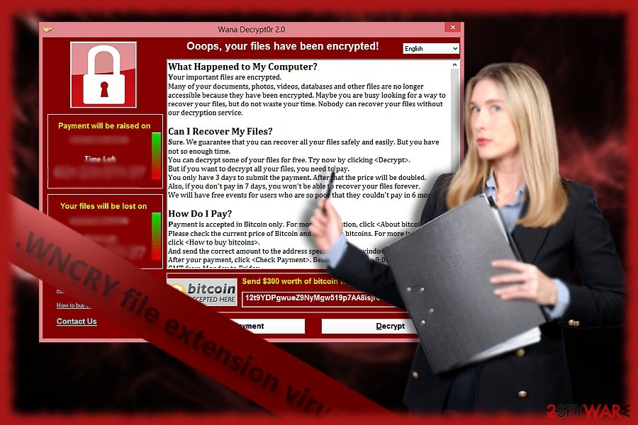 The screenshot of WNCRY, or alternartively known  WanaDecrypter, virus screenshot