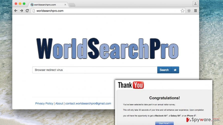 WorldSearchPro.com browser hijacker suggests using a shady search engine