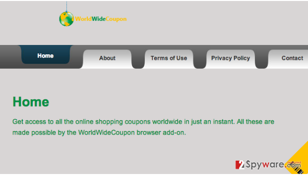 WorldWideCoupon ads snapshot