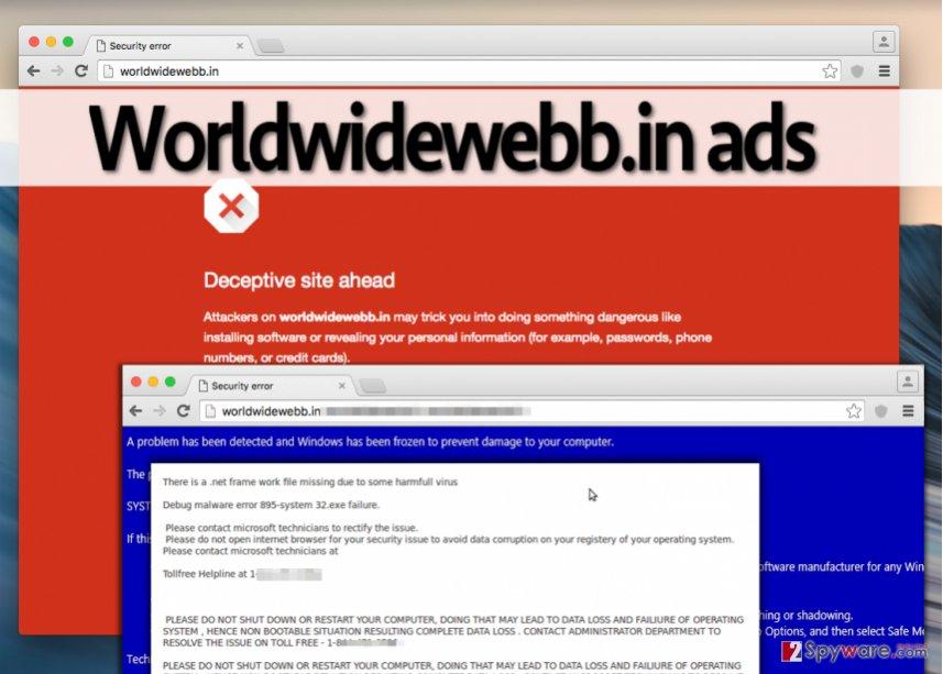 Bogus Worldwidewebb.in ads
