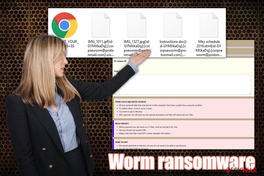 Worm ransomware virus