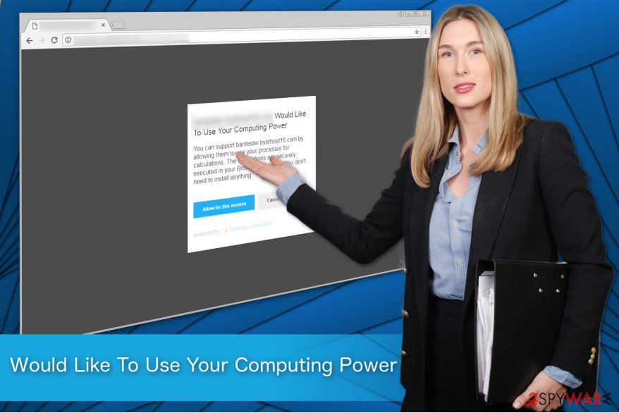 "The illustration of ""Would Like To Use Your Computing Power"" ads"