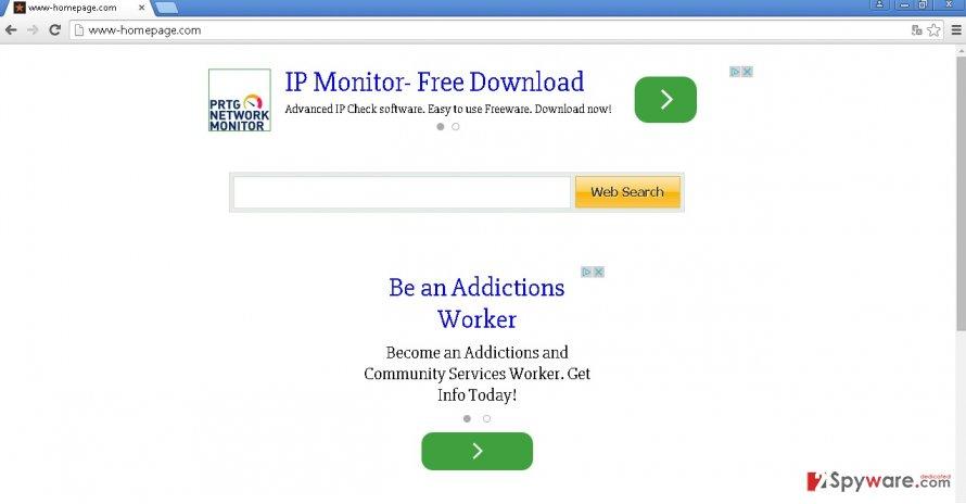 Www-homepage.com hijack snapshot