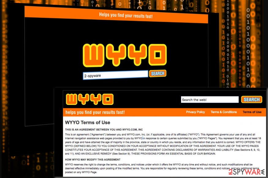 Image displaying screenshots of the Wyyo.com virus