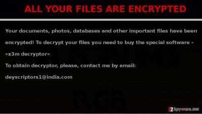 X3M virus encrypts files