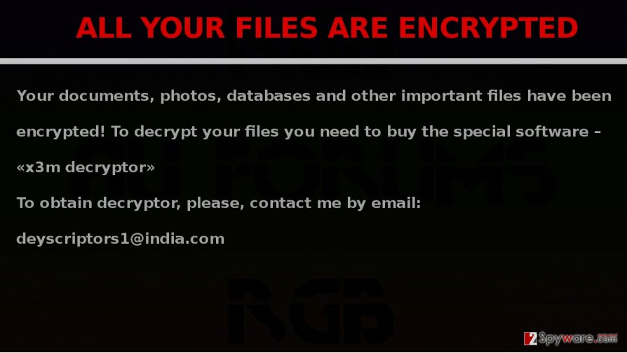 X3M virus encrypts files