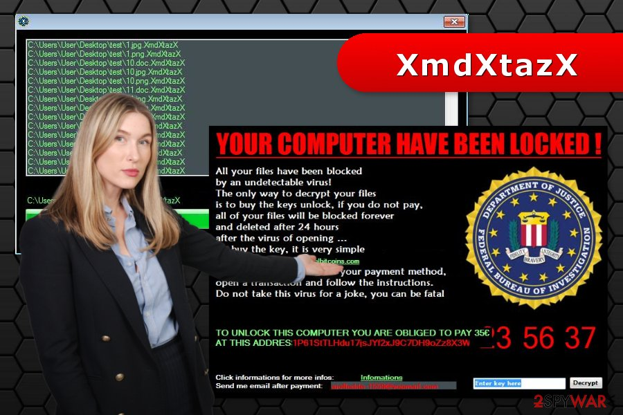 The iamge of XmdXtazX ransomware attack