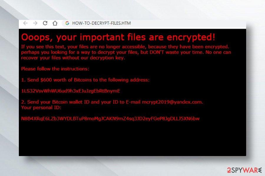 Xorist ransomware lock screem