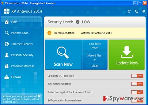 XP Antispyware 2014 snapshot